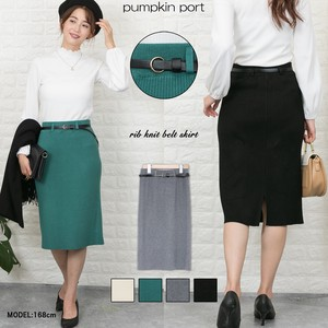 Knitted Synthetic Leather Belt Attached Skirt