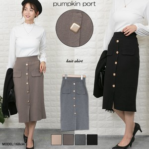 Knitted GOLD Square Button Skirt