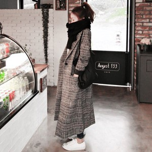 Checkered Ladies Chesterfield Coat Houndstooth Pattern Long Coat Pocket