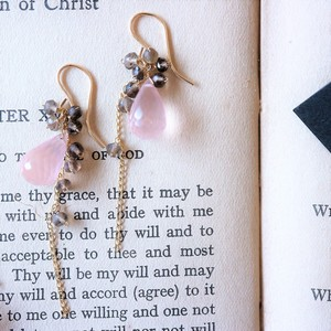 Rose Quartz Smoky Quartz Chain Pierced Earring