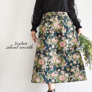 Floral Pattern Tuck Flare Skirt