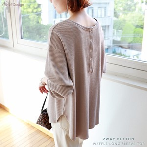 2-Way Button Waffle Long Sleeve Top