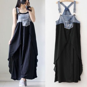 Jean Denim Chiffon Docking One-piece Dress