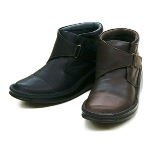 soft Genuine Leather Objects and Ornaments Ornament Black Attached Thick-soled Short Boots