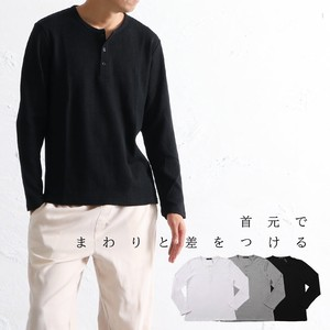 Henry Neck Men's T-shirt Long Sleeve Crew Neck Button