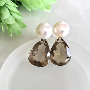 Freshwater White Pearl Large Grain Smoky Quartz Pierced Earring