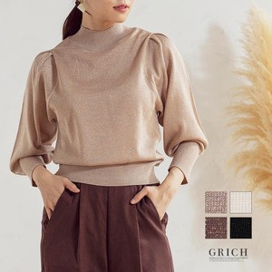 Top Knitted Cut And Sewn Pullover Mock Neck High Neck lame