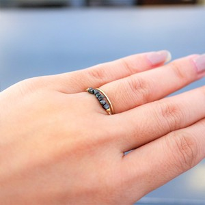 Natural stone Adjustable Black Diamond Chain Ring