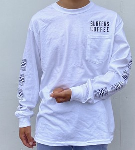 Shoulder Long Pocket Long Sleeve T-shirt White