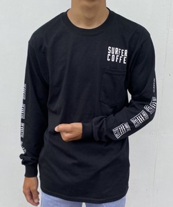 Shoulder Long Pocket Long Sleeve T-shirt Black