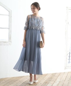 Embroidery Lace Pleats Skirt Long One-piece Dress Dress