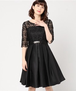 Lace Switch DeCollete Tuck Flare Band Dress Bijou Belt Attached