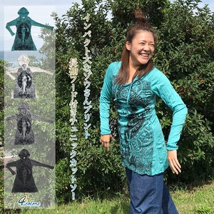Print With Hood Long Sleeve Tunic Cut And Sewn Processing Long T-shirts Asia Ethnic