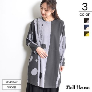 Adult Geometric Design Switching Long Sleeve Big Tunic