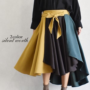 A/W Ribbon Checkered Color Scheme Flare Skirt