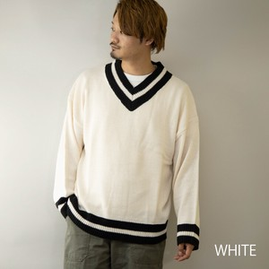 Knitted Sweater Men's V-neck Big Silhouette Knitted Sweater