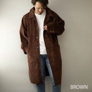Stand-fall Collar Coat Men's CORDUROY Long Big Silhouette Long Coat Big Coat