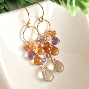 Champagne Quartz Citrine Pierced Earring Earring Autumn color