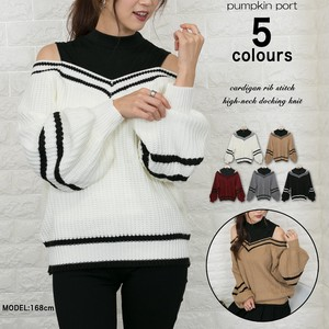 With Line Petit High Neck Docking Knitted