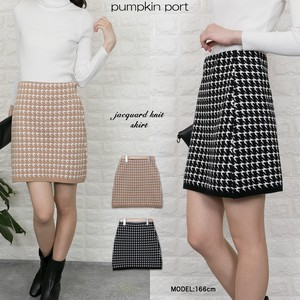 Houndstooth Pattern Jacquard Knitted Skirt