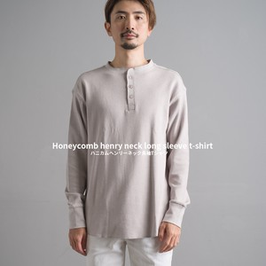 Men's Honeycomb Henry Neck Long Sleeve T-shirt