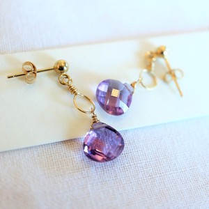 Birthstone Amethyst Charm Post Pierced Earring