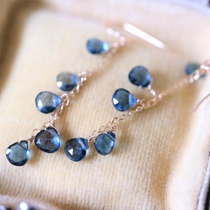 Natural stone London Blue Topaz Chain Pierced Earring