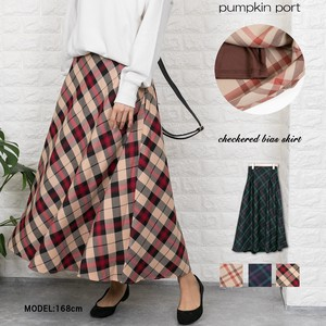 Checkered Bias Long Flare Skirt