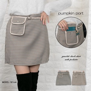Club Checkered Attached Mini Skirt
