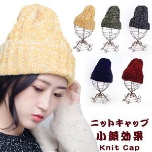 ミックスカラーニット帽 レディース ケーブル編み 秋冬 防寒 暖か 縄編み 5色展開
