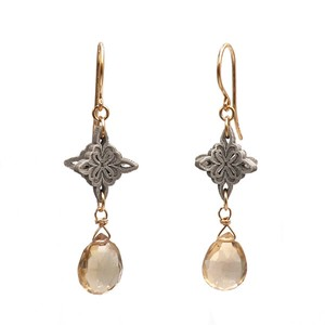 Pierced Earring Fiber Champagne Color Quartz