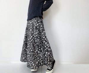 Funwari Double Gauze Long Skirt Night Sky Star Pattern