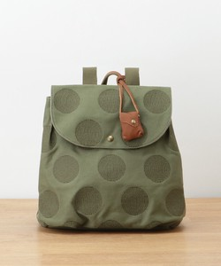 Canvas Dot Embroidery Leather Backpack