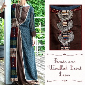 Beads Wood Block Print One-piece Dress