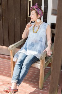 Pastel Stripe Wood Block Tunic