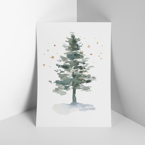 Mini Poster Tree Scandinavia Botanical Plant Jupiter Watercolor