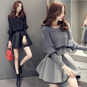 2 Pcs Set Long Sleeve Knitted Line Dress A3