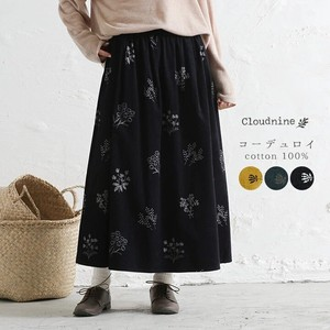 CORDUROY Floral Pattern Elastic Waist Gather Long Skirt A/W