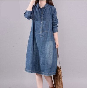 Ladies Long Sleeve Denim Dress A3