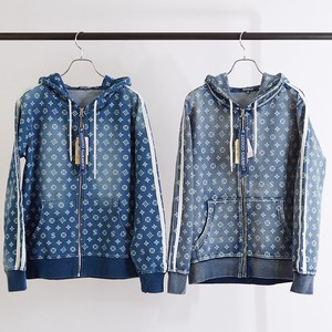S/S Unisex Repeating Pattern Monogram Print Cut Denim Line Hoody