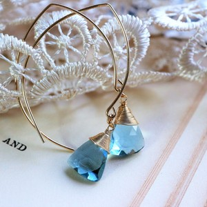 Production Blue-Color Quartz Pierced Earring