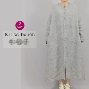 [2021 New Product] Linen Mono Tone Checkered One-piece Dress