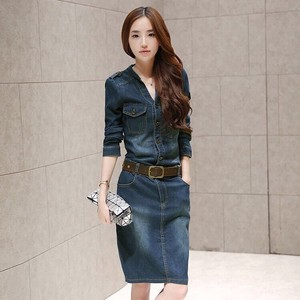 Ladies One-piece Dress Denim One-piece Dress Knee-high Long Sleeve One-piece Dress