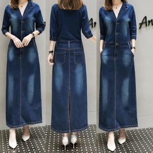 Ladies Denim One-piece Dress Elegance Long Sleeve One-piece Dress