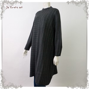 Knitted Tunic lame Stripe Border Block Long Tunic Lady