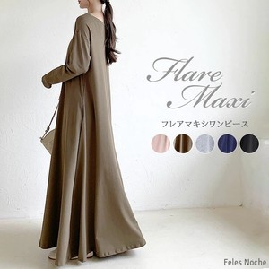 Flare One-piece Dress Fleece Long One-piece Dress Flare Line Long Sleeve A/W 5 Colors