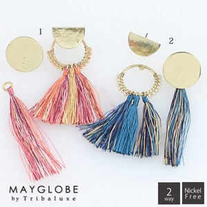【30%off】MAYGLOBE by Tribaluxe メタルモチーフxタッセルアシンメトリー2wayピアス tp17129