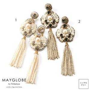 MAYGLOBE by Tribaluxe パールビジューxビーズタッセルピアス tp20001