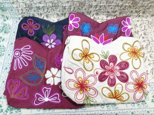 Selling Floral Pattern Embroidery Bag Suede 4-unit Set
