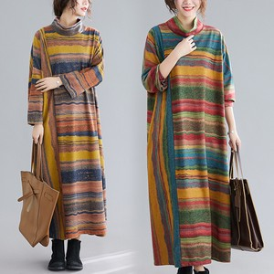 100 A/W Plus Stripe Ladies Long Sleeve Dress A3